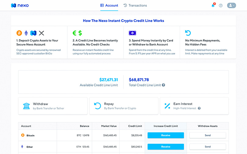 Nexo Dashboard